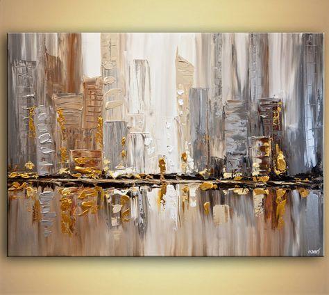 """ORIGINAL City moderne Acryl Spachtel Malerei abstrakt Gold Silber strukturierte Gemälde von Osnat 55 """"x 39"""" groß"""