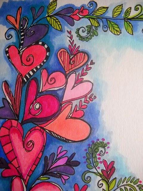 Heart art... Might try something like this with sharpie and canvas.