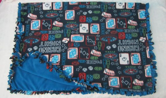 Large and cozy Poker fleece tie blanket/throw by BriersBlankets
