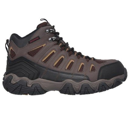 Skechers Work Men's Blais Bixford Memory Foam Waterproof Steel Toe Boots (Dark Brown Leather) - 7.5 M