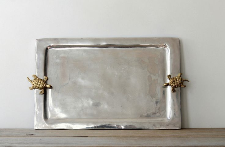 Vintage boho eclectic metal tray / bohemian brass turtle decor tray / quirky turtle serving tray / minimalist global style / gray gold color by WhiteDogVintage on Etsy https://www.etsy.com/listing/270444941/vintage-boho-eclectic-metal-tray
