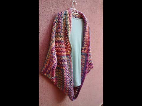Cómo hacer una chaqueta kimono de ganchillo | Crochet jacket - YouTube