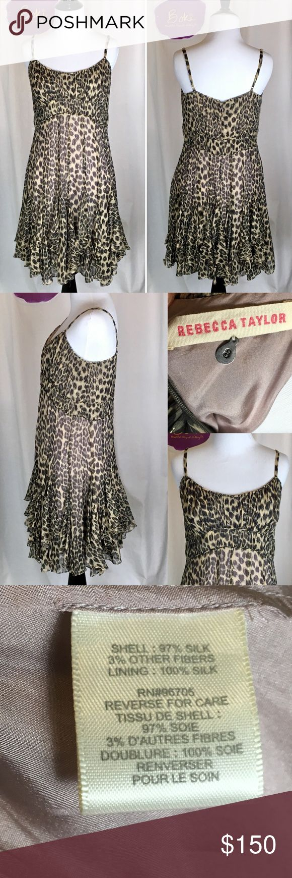 "Rebecca Taylor Metallic Leopard Silk Blend Dress 8 Fun and flirty, this EUC Rebecca Taylor silk blend dress is a must-have! Layered with ruffles falling below the smocked waist, this dress works beautifully alone or over leggings with a cardigan. Lined in mauve. Flat measures: bust 18"", waist 15"" with 31"" length from highest point on top to hem. No stains, rips or pulls. Side zipper. No trades, offers welcome. Rebecca Taylor Dresses"