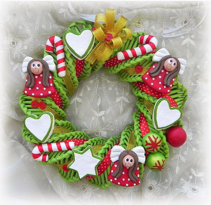 Decokuferek - rękodzieło artystyczne, masa solna, papierowa wiklina, decoupage: Wianek bożonarodzeniowy z papierowej wikliny i mas...
