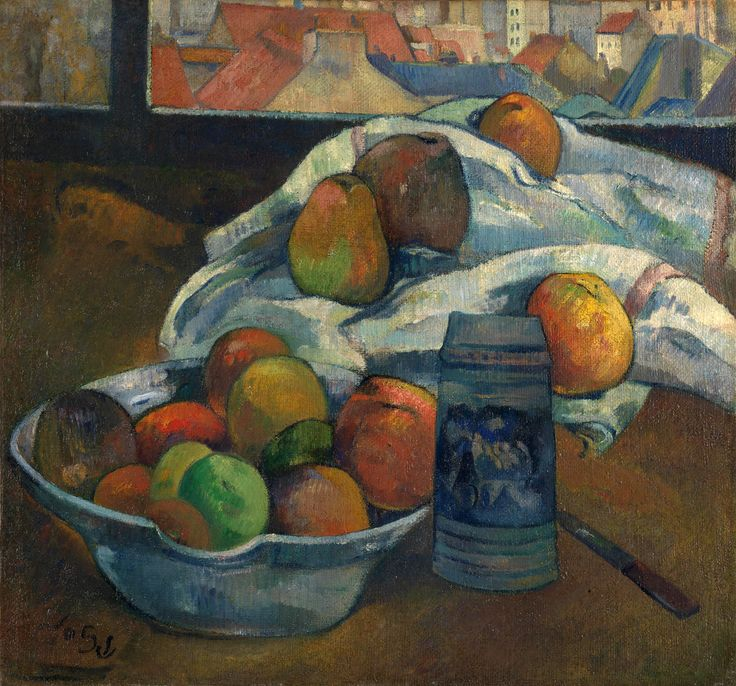 Paul Gauguin - Bowl of Fruit and Tankard before a Window [c.1890] (by Gandalf's Gallery)