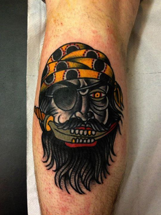 Pirate Tattoo (2) By Luke Jinks #tattoo #tattoos #traditional #traditionaltattoo #london #londontattoo #tattooart #pirate #knife #fierce #hot #for #guys #men #beard #cloak #and #dagger #studio #cloakanddagger