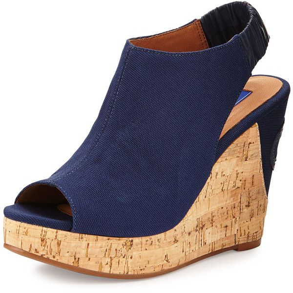 Dee Keller Logan Canvas Wedge Sandal ($115) ❤ liked on Polyvore featuring shoes, sandals, wedges, heels, navy, cork wedge sandals, canvas shoes, wedges shoes, wedge heel sandals and platform heel sandals