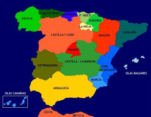 Resultados de la Búsqueda de imágenes de Google de un mapa de España por Nombre de las Comunidades o Regiones.