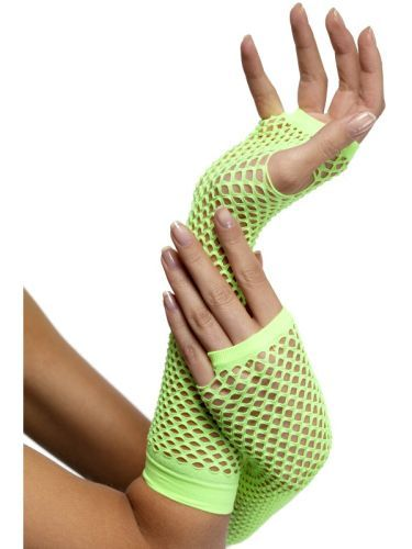 80s Fishnet Neon Green Long Gloves Ladies Fancy Dress Costume Party Accessory (34880) | Costume Accessories | Gloves