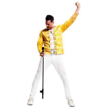 Camiseta Feddie Mercury hiperrealista para hombre vocalista de Queen con estampación chaqueta amarilla #Camiseta #Disfraz