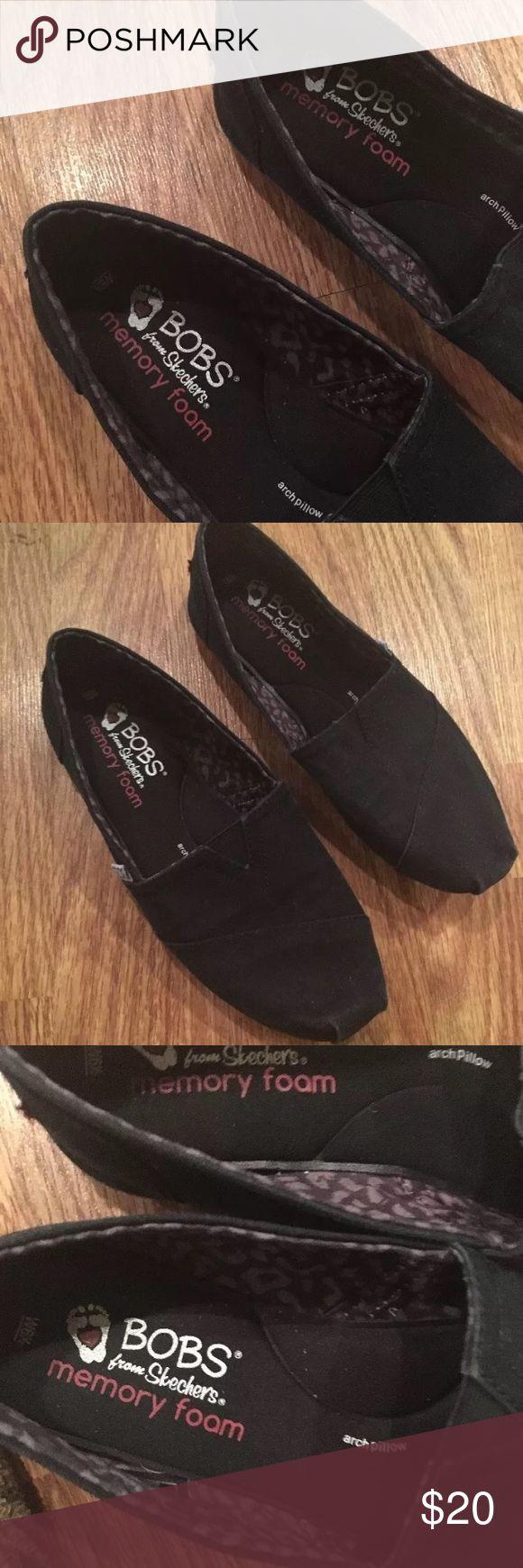 Bobs Skechers black memory foam Slip On Shoes 6.5 Bobs by Skechers. Memory foam Slip one. Worn a handful of times, bottoms show minor wear. Cleaned and ready to wear size 6.5 bobs Shoes Flats & Loafers
