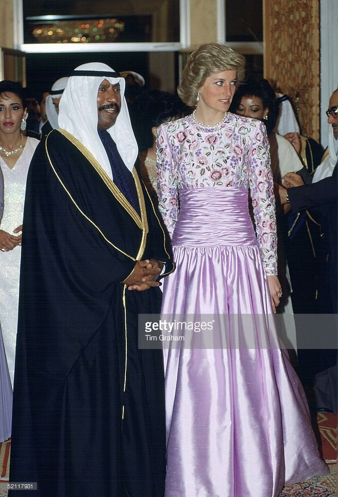 Princess Diana in Catherine Walker - Official Gulf States (Kuwait - State Banquet with H.H. Sheikh Saad Al Abdullah Al Salim Al Sabah, Crown Prince of Kuwait) - March 1989