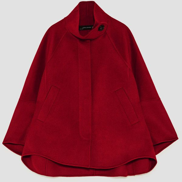 SHORT CAPE - OUTERWEAR-WOMAN-SALE | ZARA Albania ❤ liked on Polyvore featuring outerwear, red cape, short red cape, cape coat, short capes and red cape coat