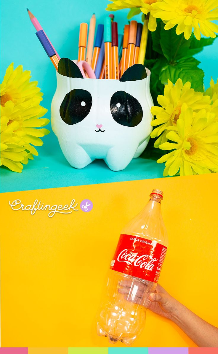 Desk organizers with recyclable materials Panda pencil holder with a recycled plastic bottle Desk or Recycled Crafts Kids, Fun Crafts, Diy And Crafts, Paper Crafts, Crafts With Recycled Materials, Popsicle Crafts, Plastic Bottle Crafts, Diy Bottle, Diy For Kids
