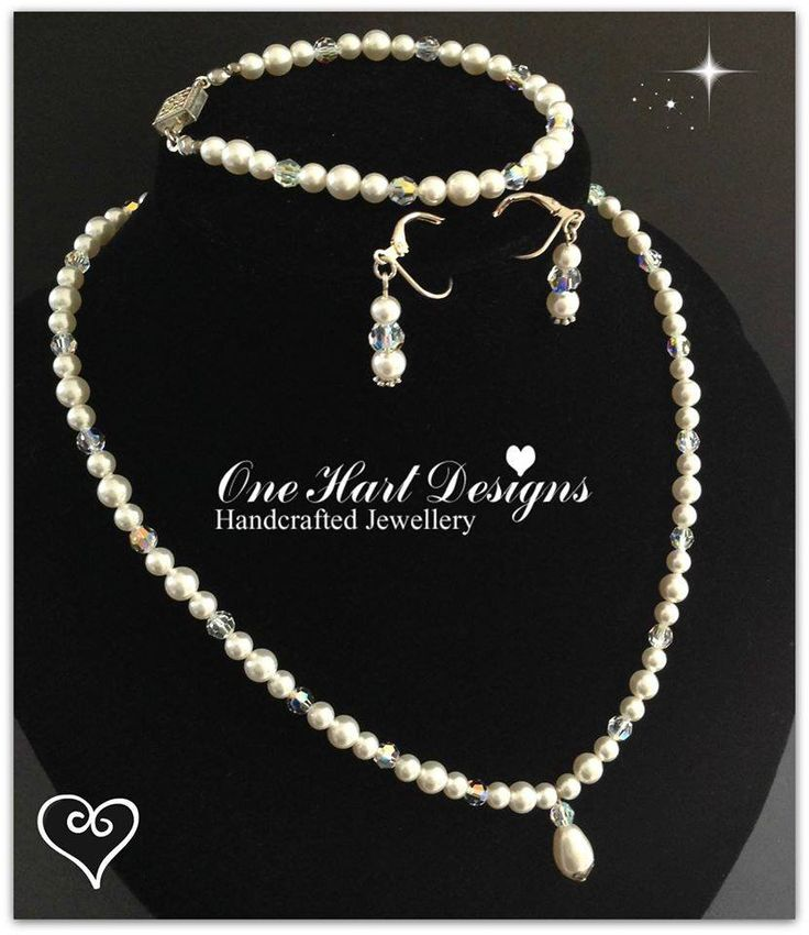 Handmade by One Hart Designs Handcrafted Jewellery This stunning set includes Necklace, Bracelet and Earrings all made using Genuine Swarovski Pearls and Crystals.