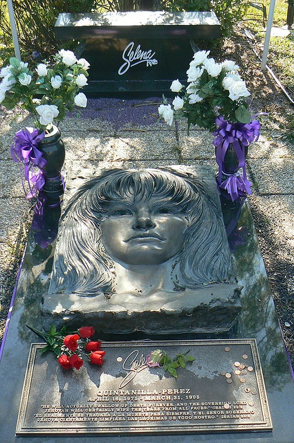Selena's grave by qnr, via Flickr - Seaside Memorial Park located at 5347 Ocean Drive, Corpus Christi, Texas, 78841.