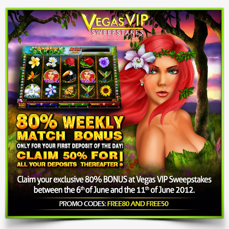 Receive a 80% Match Bonus for your first deposit of the day!  Terms and Conditions: http://www.vegasvipsweepstakes.com/terms/strategybonus80.html  http://www.vegasvipsweepstakes.com/