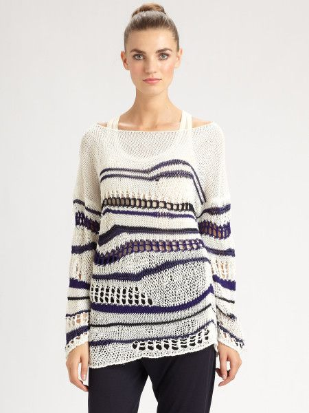 Love it! White and navy striped knitwear sweater from French luxury fashion designer Jean Paul Gaultier. Get the best deals on fall sweaters at Simba Deals! Check us out: bit.ly/1sQco20