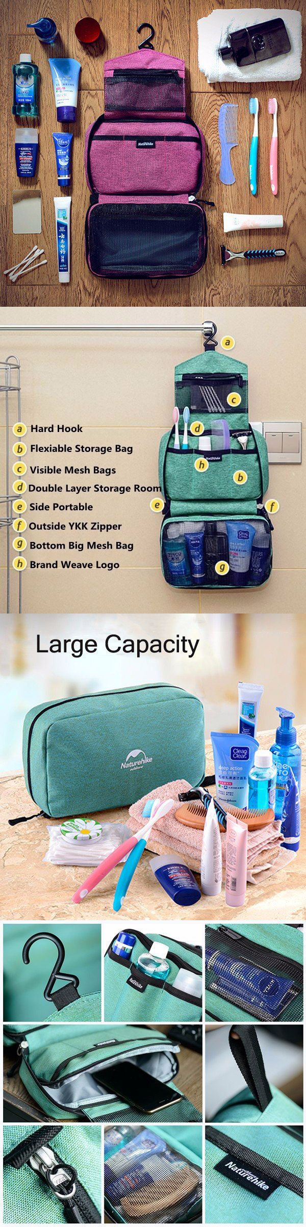 US$14.73 Woman Man Naturehike Waterproof Wash Bags_ Portable Travel Bags_ Outdoor Cosmetic Storage Bag