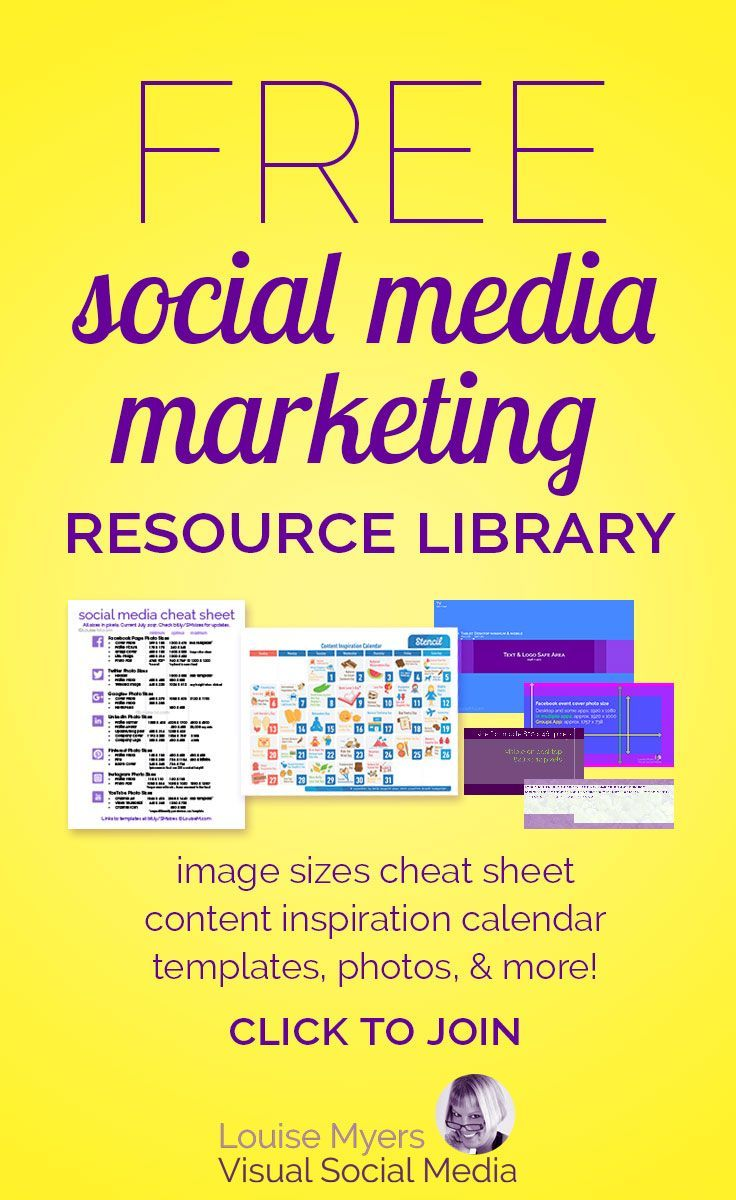 Click to website for FREE social media marketing resources. Free printables, templates, cheat sheets and more, for small businesses, bloggers, and entrepreneurs. Join now!
