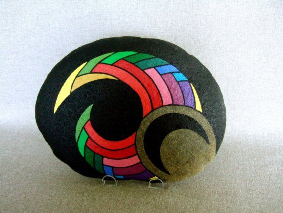 Unique 3D Art Object Hand Painted Rock Signed Numbered Rainbow Colors Home Decor or Office Decor by IshiGallery, $750.00