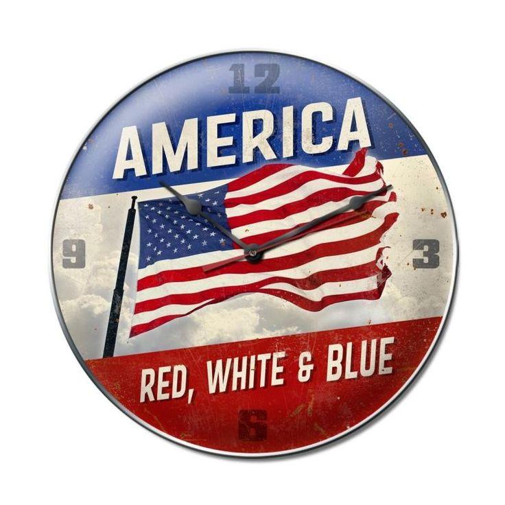 America Red White Blue Clock