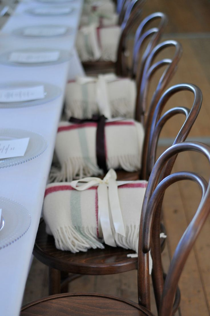 GUEST FAVOURS. We think this was a gorgeous guest gift for an Autumn wedding! Pretty blankets were given to each guest to take home but also enjoy that evening in the outside lounge area. Wedding Gallery | Hire Ideas & Inspiration | Your Event Solution | YES #weddings #YourEventSolution