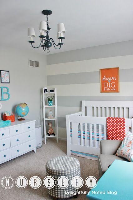 Aqua, orange, and grey baby boy's nursery!... I like the colors
