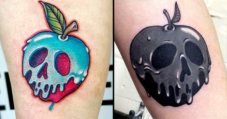 Fans will love these cool poisoned apple tattoo designs inspired a classic Disney film.
