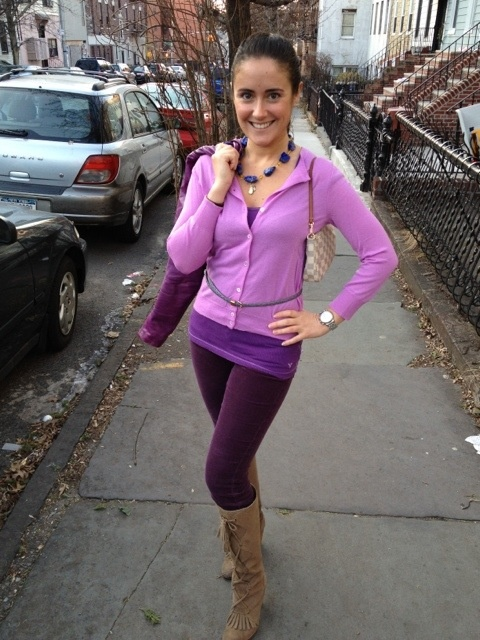 Monochromatic purple outfit  Pants: AG cords; boots: Tracy Reese for Anthro; tank: AE; bag: LV damier azur; jacket: Las Pepas (Alto Palermo, Buenos Aires); watch: Michelle; sweater: JCrew Cashemere; necklace: Couleur Vive Jewelry (own design: lapis lazuli + citrine)