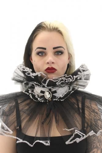 """PIETRO CAMEO COLLAR  Women's dramatic contrast net ruffle collar with stunning cameo brooch pinned to center. This 2.2""""/5.7cm wide soft white Cotton collar fastens around the back of the neck with a satin ribbon. Ruffled contrasting black net trims each side of this Alternative collar (3""""/7.6cm along the top and 8""""/20.2cm along the bottom). A beautiful feminine cameo brooch is pinned to the center of the collar. Beautiful edgy collar for creating an amazing over dramatic alternative look."""