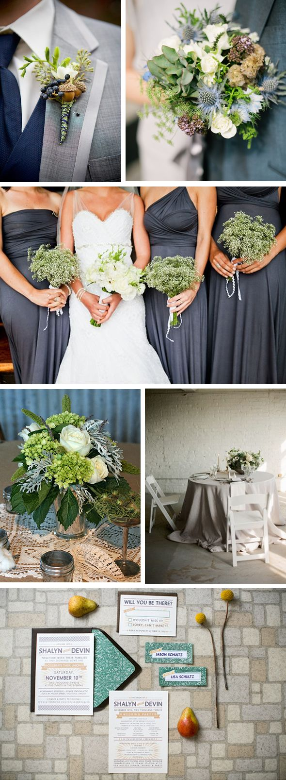 i thought it was blue, but it's a really pretty color -   grey and green weddings Autumn Destination Wedding Ideas