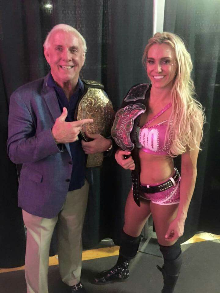 Ric Flair With His World Heavyweight Title And Wwe Divas