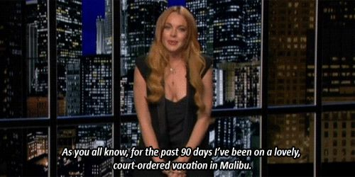 Pin for Later: The Highs (and Lows) of Living La Vida Lohan Post-rehab, she brought on the laughs on <b>Chelsea Lately</b>. Source: E!