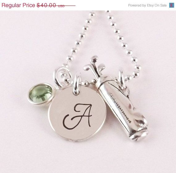 Personalized Initial Golf Charm Necklace.