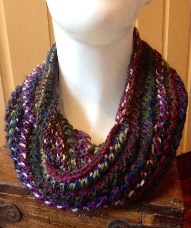 Hand Knit Lace Pattern Infinity Cowl Scarf in Self Striping Purple, Blue & Green by EweMomma on Etsy