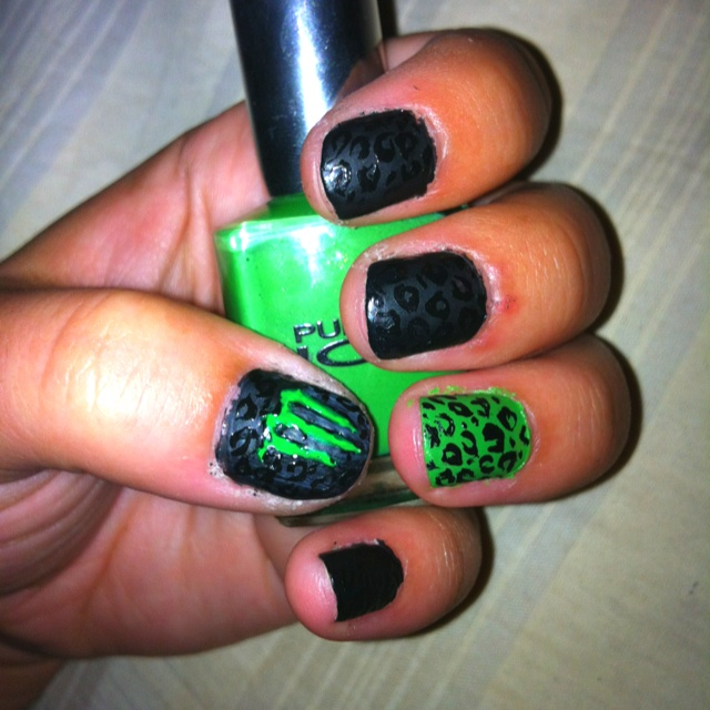 My Monster Energy nails. Hand painted :)