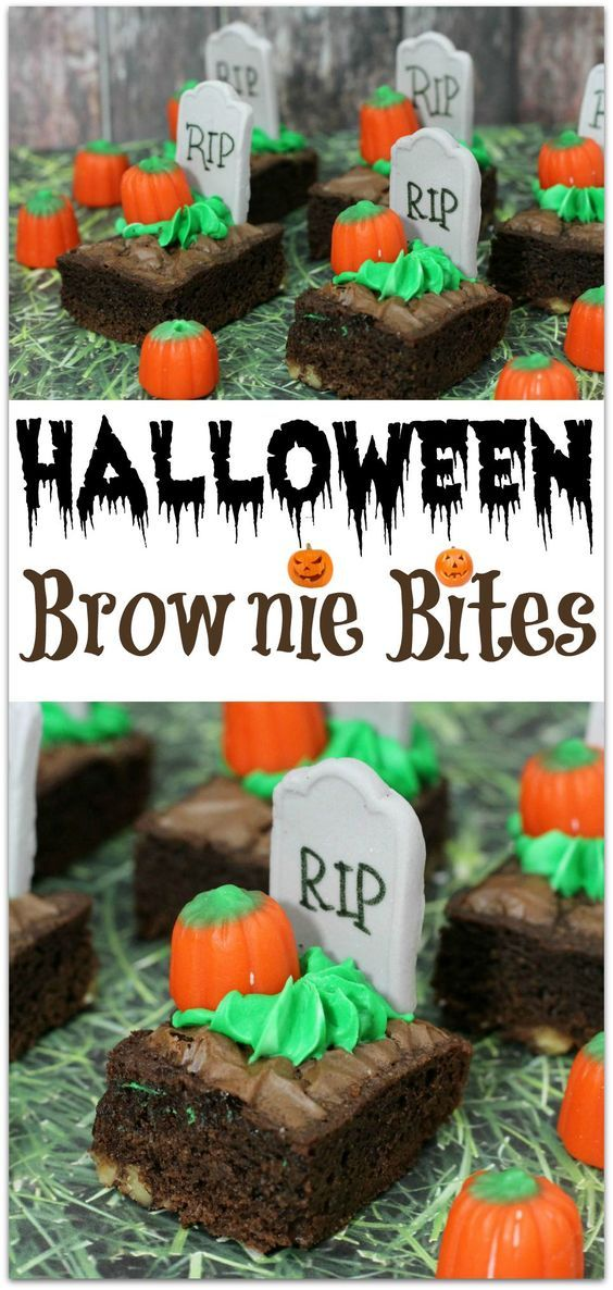 These Halloween Brownie Bites are the perfect dessert to take to your child's Halloween party! Just a little spooky and so cute this dessert recipe is also easy to make!