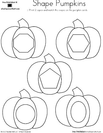 Pumpkin Shapes Matching | A to Z Teacher Stuff Printable Pages and Worksheets