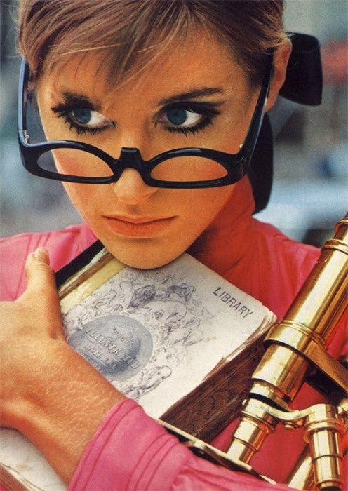 @Oliver Goldsmith & Claire Goldsmith Eyewear | Oliver Goldsmith black 'half glasses' British Vogue September 1966. | #mido