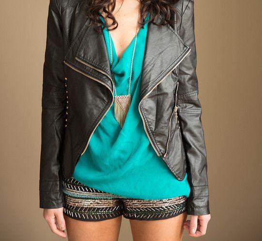 Embellished shorts + moto jackets.