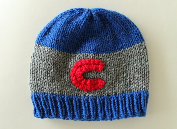 Chicago Cubs Knit Hat by WhatGivesUsJoy on Etsy, $20.00