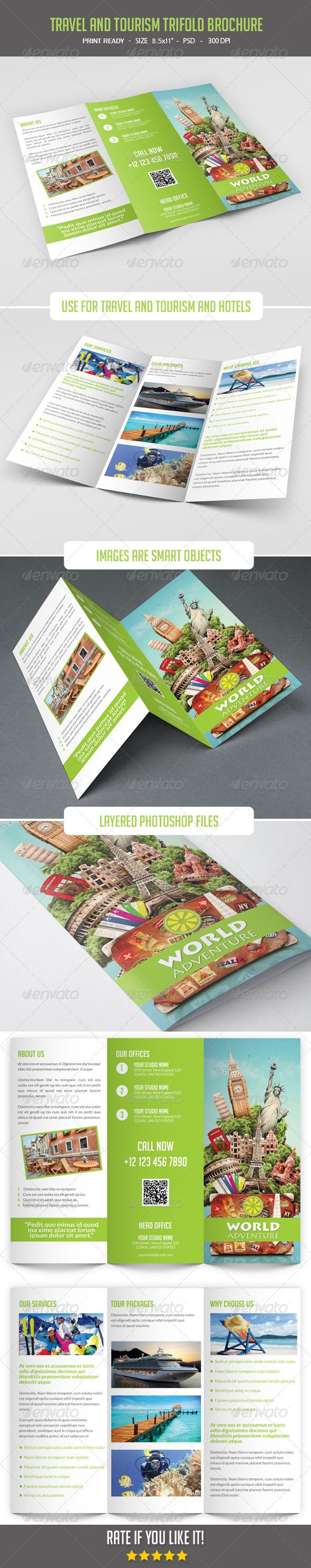 Travel and Tourism Trifold Brochure  PSD Template • Download ➝ https://graphicriver.net/item/travel-and-tourism-trifold-brochure/8067157?ref=pxcr