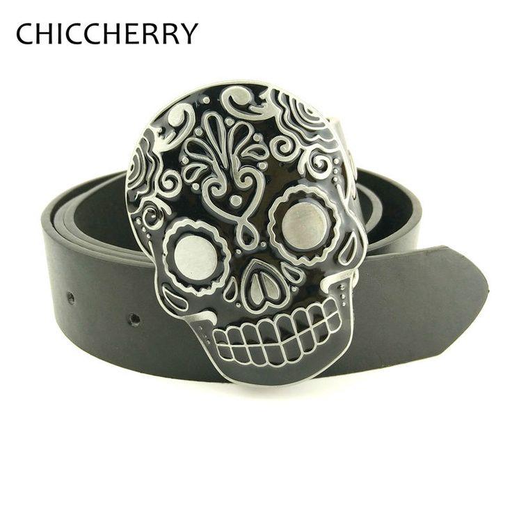 >> Click to Buy << Negro Calavera Mexicana Hebillas Para Cinturones Hombre Cowboys-Belt-Buckles Skull Cool Metalic for Men Jeans PU Leather Belts #Affiliate
