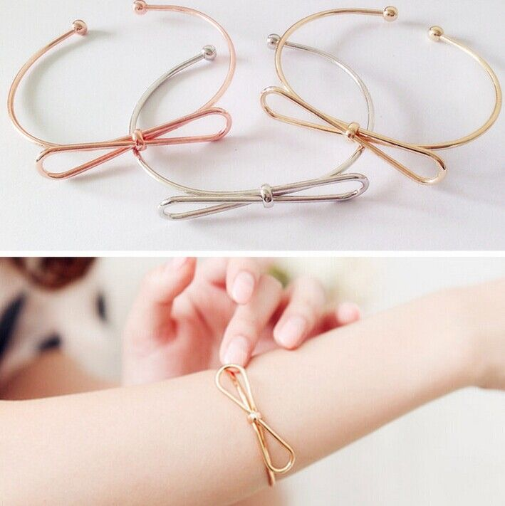 Fashion accessories jewelry New cute bow knot cuff bangle mix color gift for women girl wholesale B3229