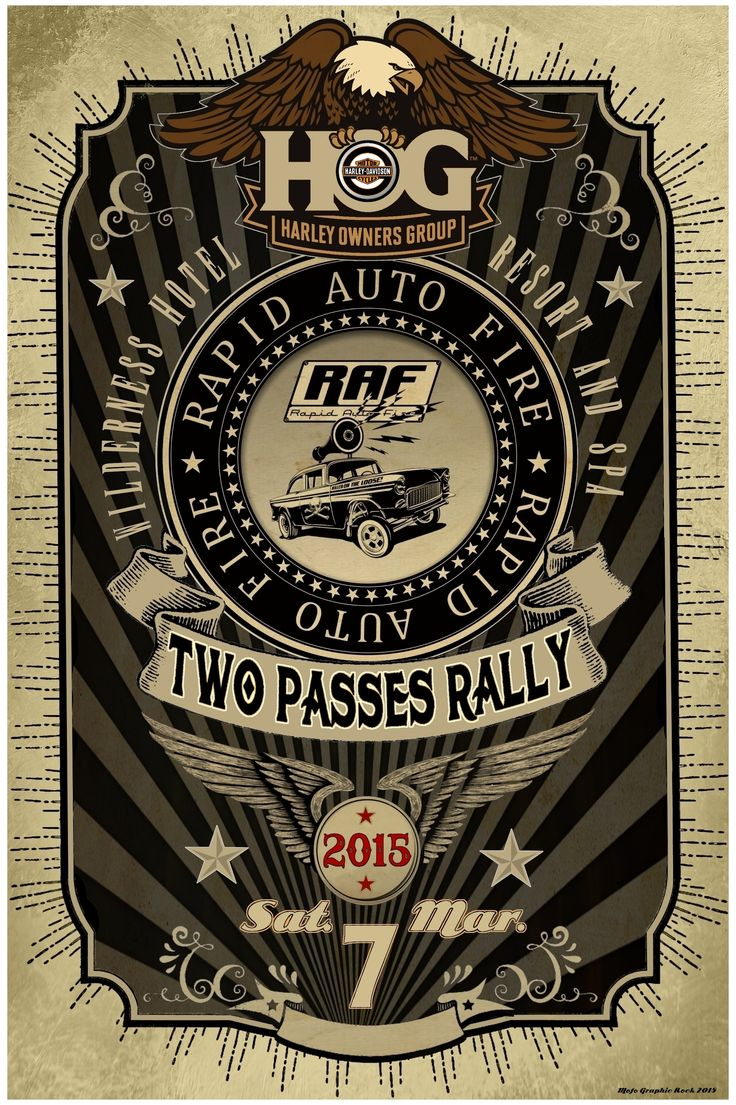 Poster created for the band Rapid Auto Fire for a gig for the Harley Owners Group. (Copyright: Mofo Graphic Rock. (mofographicrock@gmail.com)
