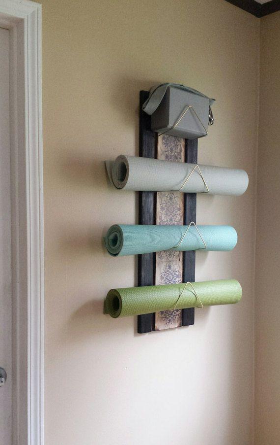 4 Tier Yoga Mat Holder - wall mounted, yoga supplies, yoga storage, yoga gifts…
