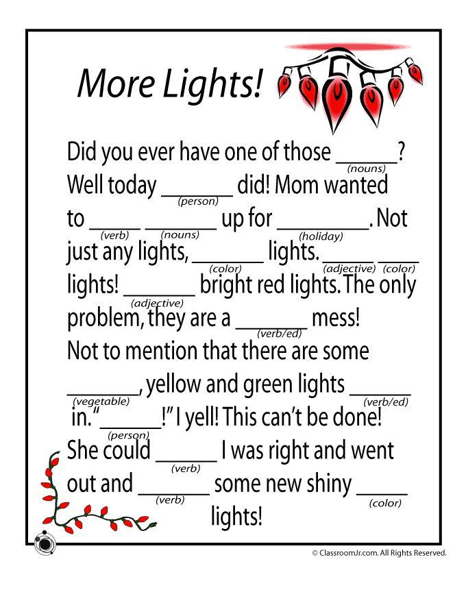 Christmas Mad Libs Christmas Mad Libs - More Lights! – Classroom Jr.