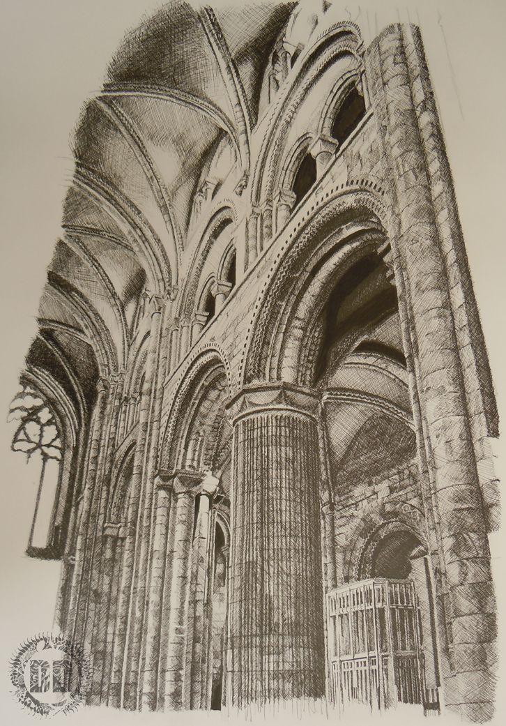 Durham Cathedral Columns Cross Hatching by Alasdair from Dark Design Graphics