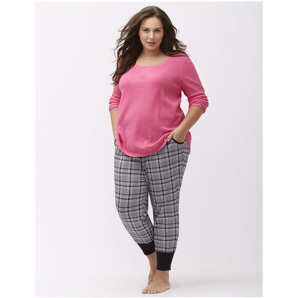 Cacique Plus Size Jogger sleep pant ($37) ❤ liked on Polyvore featuring plus…